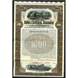 Iowa Central Railway Co. 1901 Specimen Bond.
