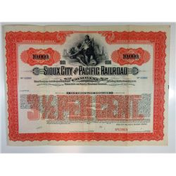 Sioux City and Pacific Railroad Co. 1900-1910 Specimen Bond.
