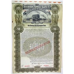 Atchison, Topeka and Santa Fe Railway Co. 1895 Specimen Bond Rarity