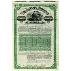 Kansas Midland Railway Co. 1887 Specimen Bond Rarity