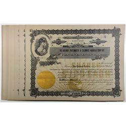 Greenup, Portsmouth & Columbus Railroad Company Shares, 1900-20, U/U, Group of 15 Certificates.
