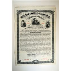 Louisville and Nashville  Railroad Co., St. Louis Division, 1881 Specimen Bond.