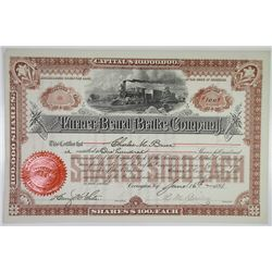 Turner Beard Brake Co. 1891 I/U Stock Certificate
