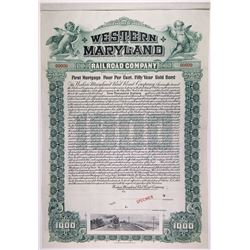 Western Maryland Railroad Co., 1902 Specimen Bond