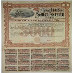 Massachusetts and Southern Construction Co. 1887 Specimen Bond Rarity
