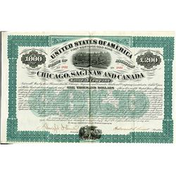 Chicago, Saginaw and Canada Railroad Co., 1873 I/U Bond