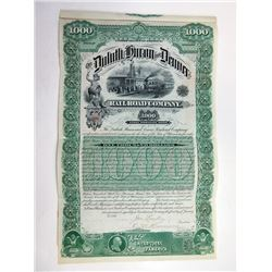 Duluth, Huron and Denver Railroad Co. 1887 I/U  Bond