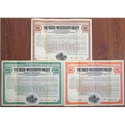 Yazoo and Mississippi Valley Railroad Co. 1909-1913 Specimen Bond Trio