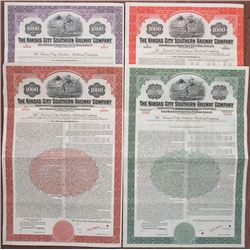 Kansas City Southern Railway Co., 1945 to 1954 Specimen Bond Quartet