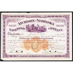 Atchison and Nebraska Railroad Co., 1877 I/C Stock Certificate with Imprinted Revenue RN-U1