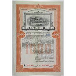 Jersey City, Hoboken & Paterson Street Railway Co 1904 Specimen Bond