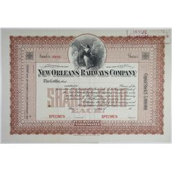 New Orleans Railways Co., 1900-20 Specimen Stock Certificate