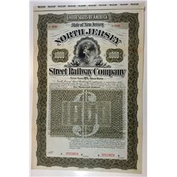 North Jersey Street Railway Co., 1896 Specimen Bond.