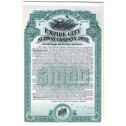 Empire City Subway Co., Ltd., 1892 Specimen Bond
