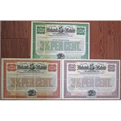 Mohawk and Malone Railway Co., 1902 Specimen Bond Trio