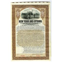 New York and Ottawa Railway Co. 1905 Specimen Bond