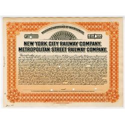 New York City Railway Co. - Metropolitan Street Railway Co., 1908 $10,000 Proof Bond