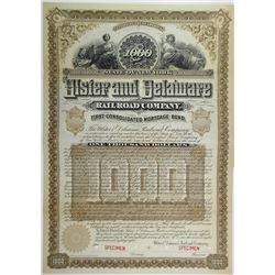 Ulster & Delaware Railroad Co., 1888 Specimen Bond Rarity