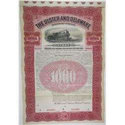 Ulster and Delaware Railroad Co. 1902 Specimen Bond