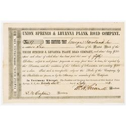 Union Springs & Levanna Plank Road Co., 1853 I/U Stock Certificate
