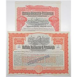 Buffalo, Rochester and Pittsburgh Railway Co. 1907 and 1909 Specimen Bond Pair