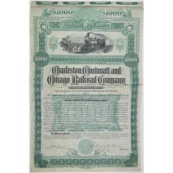 Charleston, Cincinnati & Chicago Railroad Co. 1887 I/U Bond Rarity