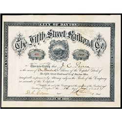 Fifth Street Railroad Co.1884 I/U Share Certificate.