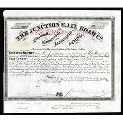 Junction Rail Road Company, 1867 I/U Stock Certificate