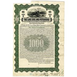Lake Erie and Pittsburg Railway Co., 1918 Unique Approval Proof Bond.