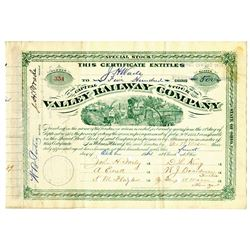 Valley Railway Co., 1884 I/C Stock Certificate Signed by H.M. Flagler and ITASB Jeptha Wade.