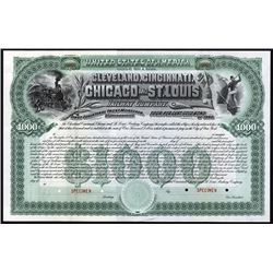 Cleveland, Cincinnati, Chicago and St. Louis Railway Co., 1890 Specimen Bond.