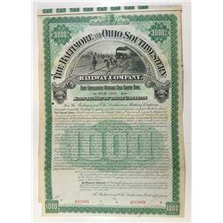 Baltimore and Ohio Southwestern Railway Co., 1893 Specimen Bond Rarity.
