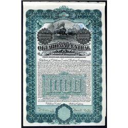 Oklahoma Central Railway Co. 1905 I/U $1000 5% Gold Coupon Bond WBNC VF-XF