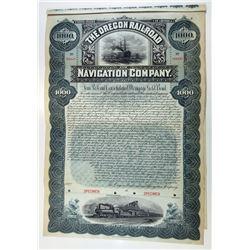 Oregon Railroad and Navigation Co. 1896 Specimen Bond.