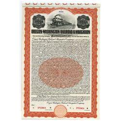 Oregon-Washington Railroad & Navigation Co., 1911 Specimen Bond.