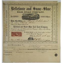Bellefonte and Snow-Shoe Rail Road Co. 1870 I/U Stock Certificate