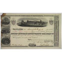 Broad Mountain Improvement and Railroad Co. 1837 I/U Stock Certificate