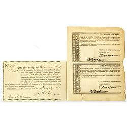 Centre Turnpike Road Co. & Milford and Owego Turnpike Road Co. 1817-1821. Pair of Stock Certificates