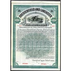 Chesterfield and Lancaster Rail Road Co., 1905 Specimen Bond.