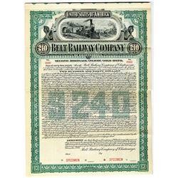 "Belt Railway Company of Chattanooga 1895 ""$240"" Specimen Bond Rarity."