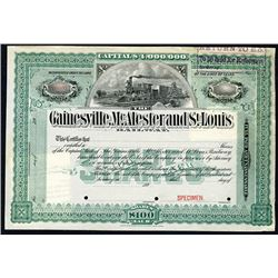 Gainesville, McAlester and St. Louis Railway, 1890's Specimen Stock Certificate.