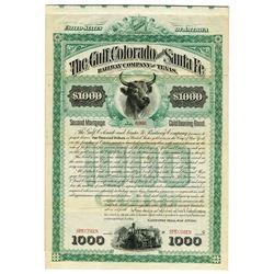 Gulf, Colorado & Santa Fe Railway Co. of Texas, 1885 Specimen Bond