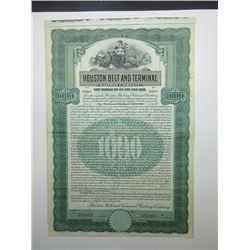 Houston Belt and Terminal Railway Co. 1907 Specimen Bond.