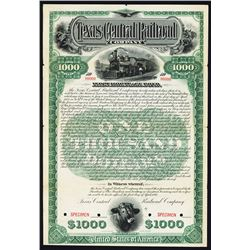 Texas Central Railroad Co., 1893 Specimen Bond.