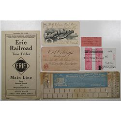 Erie Railroad & Others. 1890s-1920s. Assorted Group of Railroad Documents Including 2 Different 1891
