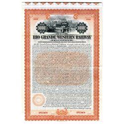 Rio Grande Western Railway Co., 1899 Specimen Bond