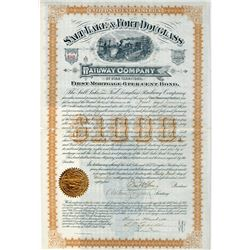 Salt Lake & Ft. Douglass Rwy Co., 1884 I/U Bond Signed By Brigham Young's Son.