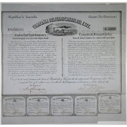 Compania Del Ferrocarril Del Este - Eastern Rail Road Co. 1860 I/U Bond Rarity