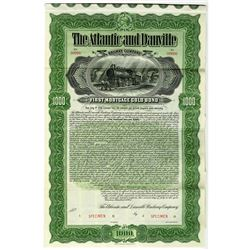 Atlantic and Danville Railway Co. 1900 Specimen Bond