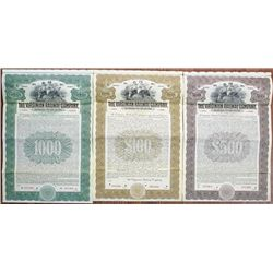 Virginian Railway Co., 1912 Specimen Bond Trio.